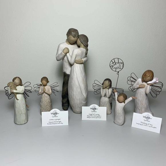 Willow Tree Figurine Lot of 6 Promise Birthday Caring Thinking Friendship Prayer